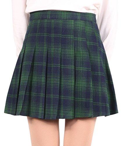 chouyatou Women's High Waist Plaid Flannel Flared Skater Skirt with Zipper Closure (Large, Green)