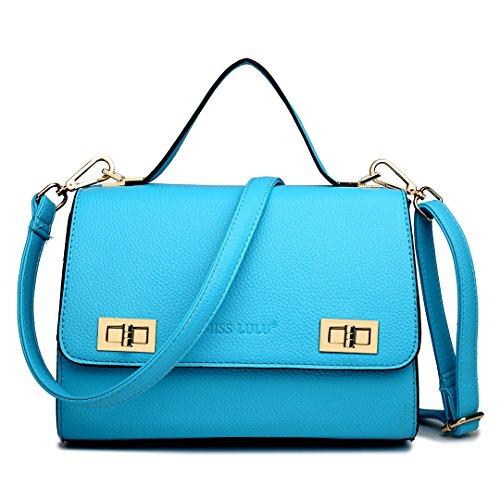 Miss Lulu Designer Faux Leder Fashion Cross Body Schulter Damen Handtasche Tasche Hellbalu