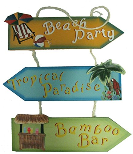 Hand Made Tropical Paradise Beach Party Bamboo Bar Wooden Hanging Sign