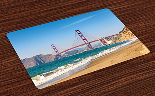 Ambesonne Landscape Place Mats Set of 4, Panoramic View of Golden Gate Bridge San Francisco Coastline Nature Seascape, Washable Fabric Placemats for Dining Table, Standard Size, Blue Turquoise (Francisco Dining San Table)