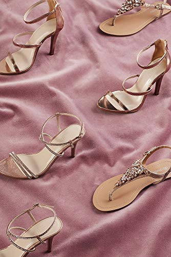 Jeweled Metallic Ankle-Strap Thong Sandals Style Rio, Rose Gold, 11W by David's Bridal (Image #4)