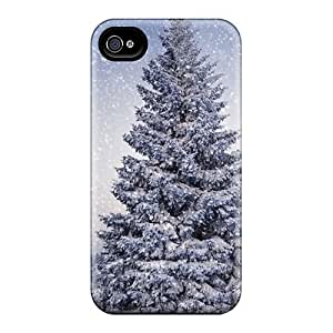 Flexible Tpu Back Case Cover For Iphone 4/4s - Big Christmas Tree Snow by icecream design