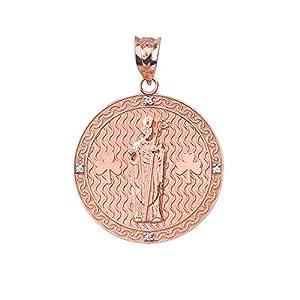 14k Rose Gold Saint Patrick Shamrock Diamond Round Medal Pendant (1.15