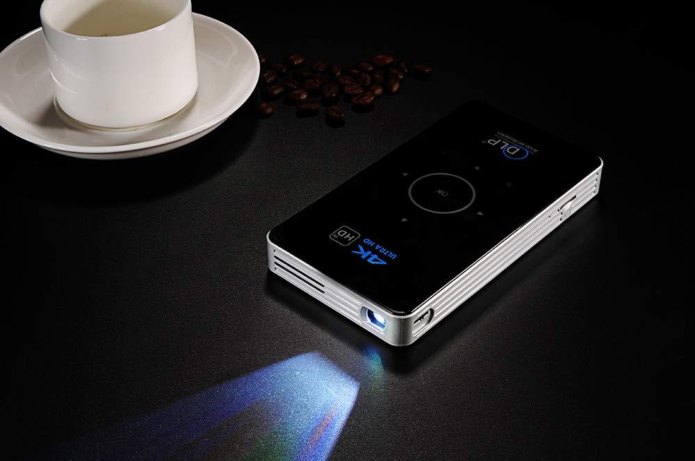 Heimkino-WiFi-Projektor 5000MA 300-Zoll-Projektion Unterst/ützung f/ür Bluetooth und Fernbedienung 2 + 16G JCOCO C6 4K 3D DLP Smart Projektor SCHWARZ Portable HD Android