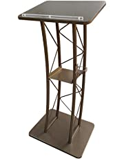 FixtureDisplays Gold Curved Podium, Truss Metal/Wood Pulpit Lectern with A Saucer 11568-GOLD