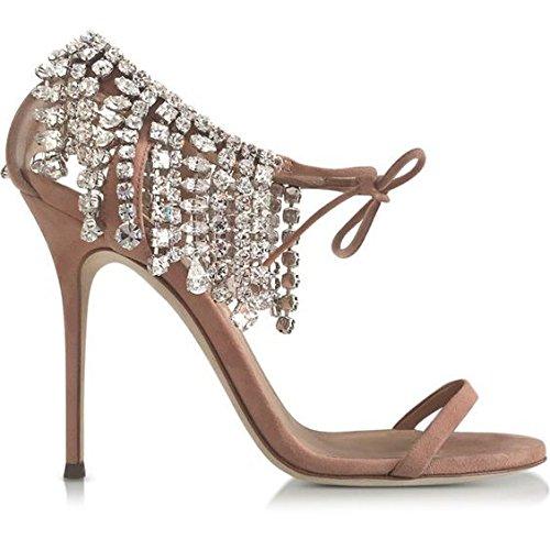 Rhinestone de los tacones altos del ante Llanura de diamantes de imitación de moda Talones sandalias de tacón alto Beige