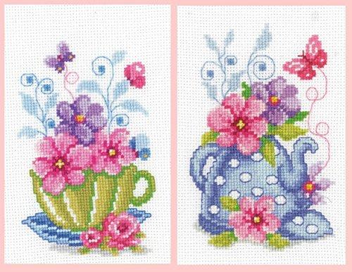 Set of 2 Green Tea Cup & Blue Teapot Cross Stitch Kits