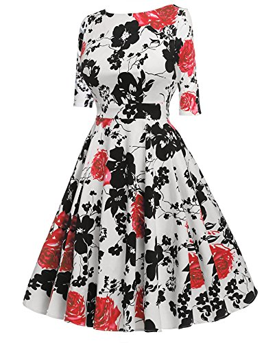 Femmes Floral Une Robe De Ligne Manches 3/4 Balançoire O Cou Plissé Robes Milieu De Veau Rouge