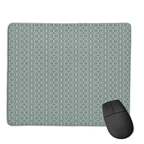 (Comfortable Mouse Pad Quality Selection,Retro,Medieval Authentic Style Curved Oval Floral Motifs Delicate Feminine,Light Sage Green White,Consoles More Enjoy Precise & Smooth Operating)