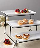 3 tier plate stand - 3 Tier Rectangular Serving Platter, Three Tiered Cake Tray Stand, Food Server Display Plate Rack, White