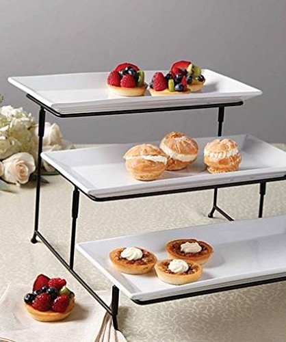 Products Serving Platters (3 Tier Rectangular Serving Platter, Three Tiered Cake Tray Stand, Food Server Display Plate Rack, White)