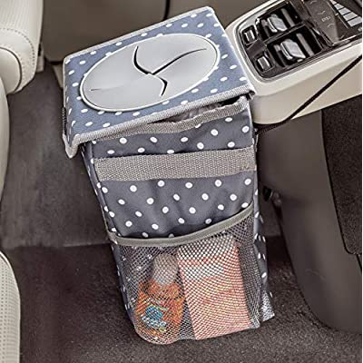 High Road StashAway Console Car Trash Can with Lid (Polka Dot): Automotive