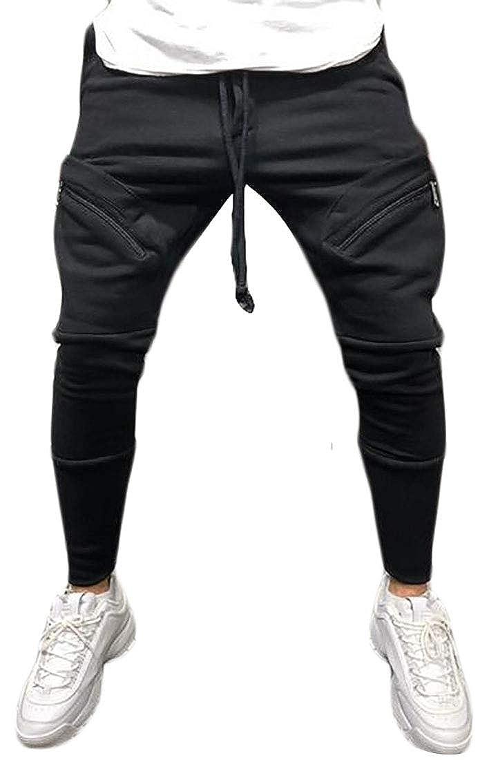 OTW Men with Zip Deco Hip Hop Athletic Gym Workout Multi Pockets Cargo Jogger Pants