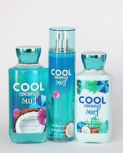 Bath and Body Works Cool Coconut Surf Set of Shower Gel, Lotion and Mist