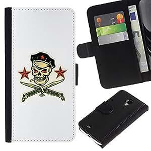 KingStore / Leather Etui en cuir / Samsung Galaxy S4 Mini i9190 / Pirate Skull White Russian Comunista