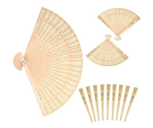 Forsun Sandalwood Fan (Set of 50 pcs) - Baby Shower Gifts & Wedding Favors&birthday gifts&Christmas gift by FORSUN (Image #6)