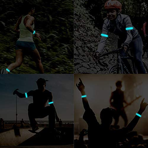 Runing Light for Runers (2 Pack) Rechargeable LED Armband Refective Running Gear, LED Light Up Band for Joggers Bikers Walkers