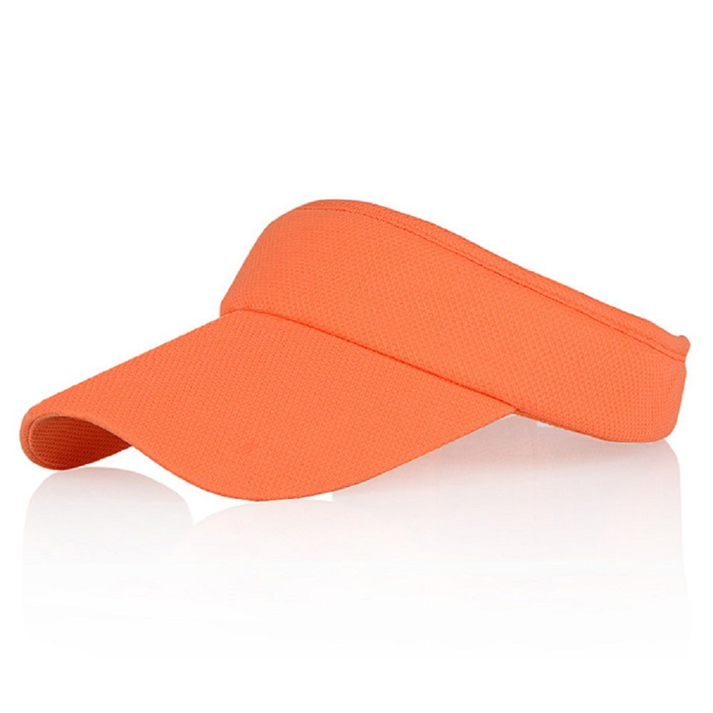 Orange Sun Visors for Girls and Women, Long Brim Thicker Sweatband Adjustable Hat for Golf Cycling Fishing Tennis Running Jogging Sports by Veatree