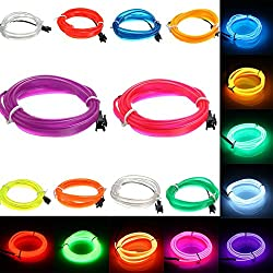 Led Strip Lights - 1m Led ble El Wire Neon Glow Light Rope Strip 12v For Christmas Holiday Party - El Wire Glasses Inverter Light Neon Lights Blue El-Wire Glow - 1PCs