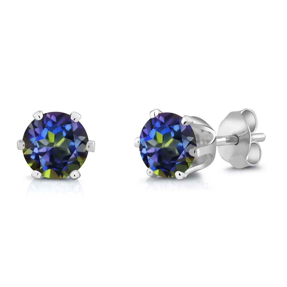 Gem Stone King 2.00 Ct Round 6mm Blue Mystic Topaz Brass Silver Plated Brass Stud Earrings