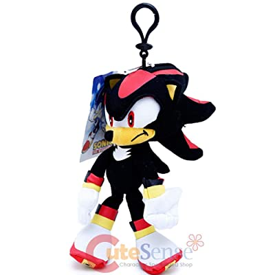 "Sonic The Hedgehog Shadow Plush Doll Key Chain Coin Bag Clip On 8"" Soft Plush: Toys & Games"