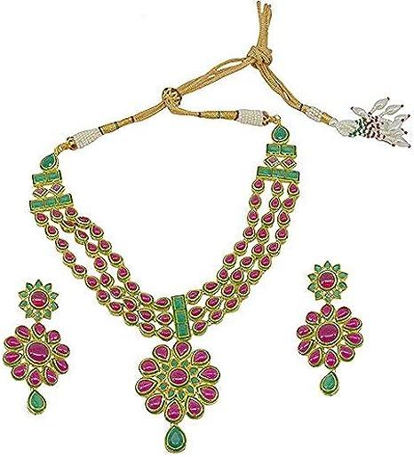 Saloni Fashion Jewellery Womens Latest Bollywood Style Hi Gold Rani Onyx Campo Necklace Set