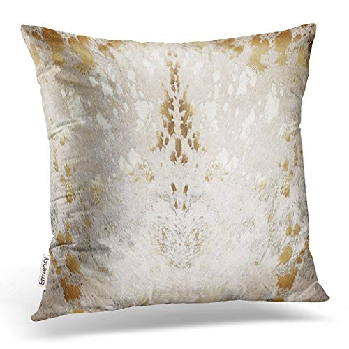 Emvency Decorative Throw Pillow Cover Square Size 20x20 Inches Cowhide White Gold Metallic Acid Wash Print Pillowcase With Hidden Zipper Decor Fashion Cushion Gift For Home Sofa Bedroom Couch Car ()