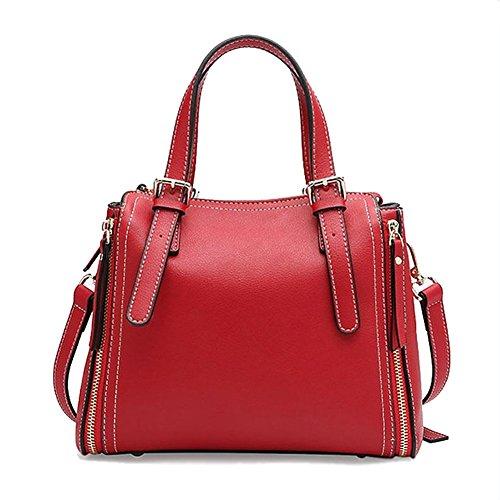 Leno Bolsos Bolsos de mano de cuero Bolsas de mensajero de hombro Gran capacidad Compras Ocio Trabajo Viajes (Color : Rojo) Rojo