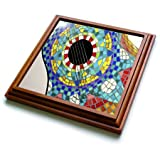 3dRose trv_60680_1 Photo of Colorful Guitar Made with Mexican Tiles Trivet with Ceramic Tile, 8 by 8'', Brown