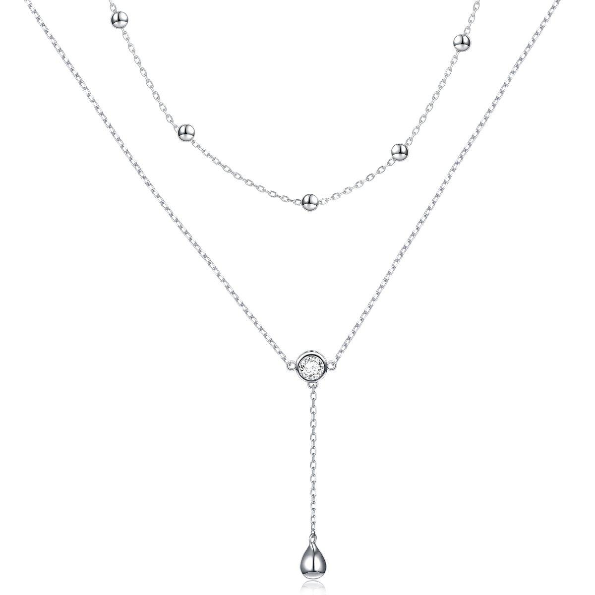 DAOCHONG Sterling Silber Träne Doppelt geschichtete Halskette Y Kette Halskette für Frauen Mädchen DAOCHONG Fine Jewelry Y-9