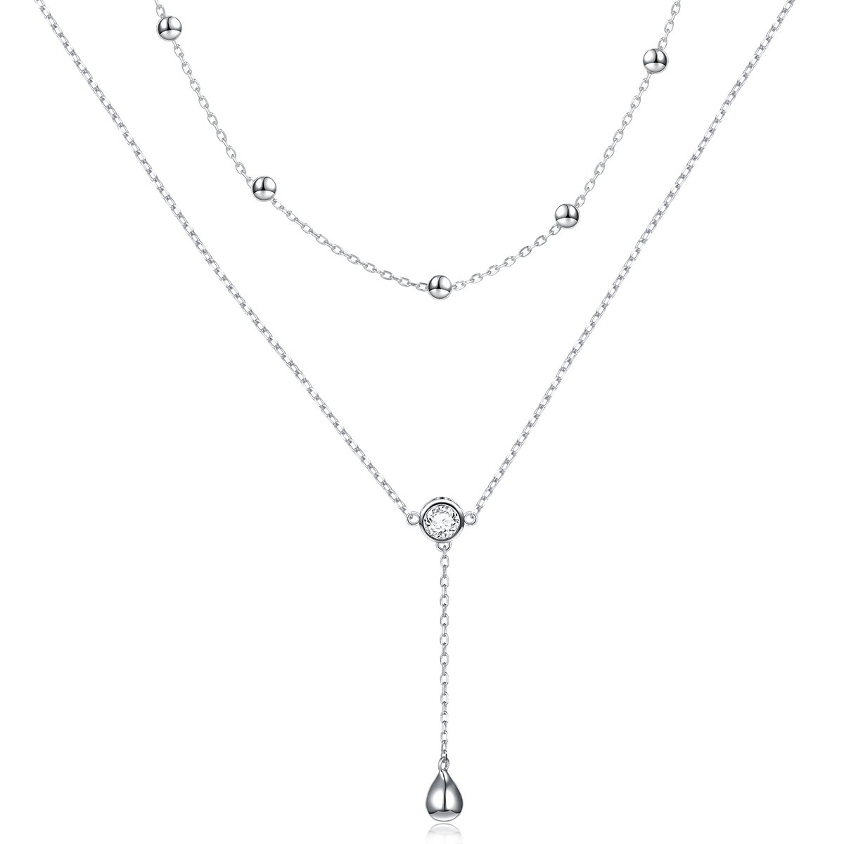 Sterling Silver Teardrop Double Layered Choker Y Lariat Necklace for Women Girls
