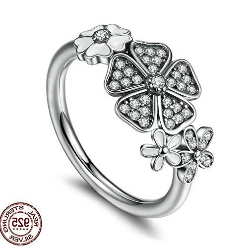 Campton 925 Silver Ring Daisy Flower Women Men White Topaz Wedding Engagement Size 5-10 | Model RNG - 12382 | 6