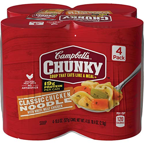 Campbell's Chunky Classic Chicken Noodle Soup With White Meat Chicken, 18.6 oz. Can, 4 Count