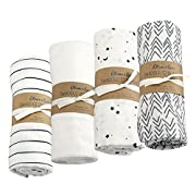 Oliver & Rain - Organic Cotton Muslin Star Print, Arrow Print, Black & White Stripe, White Swaddle Sampler, NB, 4-pack