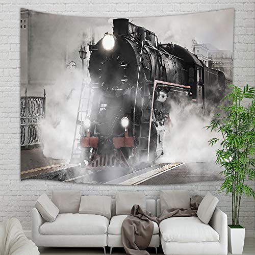 (Retro Vintage Train Tapestry Wall Hanging, Smoke Steam Engine Train Wall Carpet Art for Home Decorations Student Dorm Decor Living Room Bedroom Bedspread TV Backdrop, Nail Included, 60