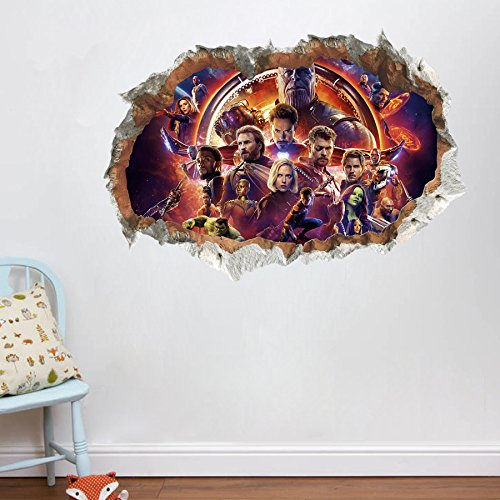 Vercico 3D Avengers Endgame Wall Stickers Superheros Wall Decals Kids Wall Decals for Bedroom Gaming Wall Decal Art Vinyl Wall Decor Sticker 20 28in (#1)