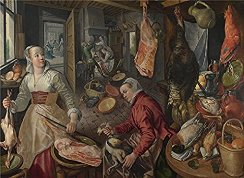 Oil Painting 'Joachim Beuckelaer The Four Elements Fire', 30 x 41 inch / 76 x 104 cm , on High Definition HD canvas prints is for Gifts And Bath Room, Hallway And Powder Room - Log Seven Drawer Dresser