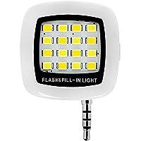 ZYCX123 Il Mini Portable 16 LED LED Flash Fill Ricaricabile Luce per Smartphone iPhone Samsung HTC e videocamera Chiara (3.5mm) -Bianco