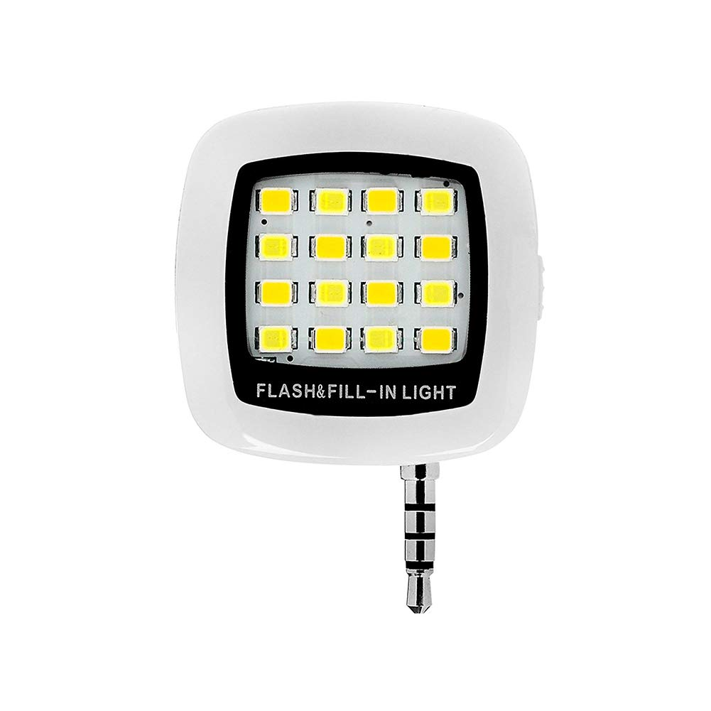 ZYCX123 Portá tiles Mini 16 LED LED Flash de Relleno luz Recargable para Smartphone iPhone Samsung HTC y Luz de la cá mara de ví deo (3, 5 mm) -Blanco