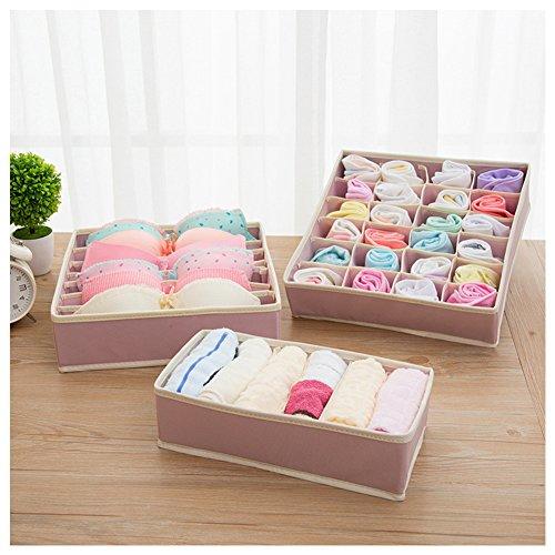 HaloVa Drawer Organizer, Bra Underware Closet Organizer, Foldable Storage Box, Draweer Divide Kit Set of 3, Pink by HaloVa