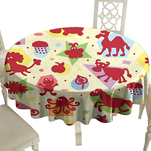 (WinfreyDecor Decorative Textured Fabric Tablecloth Seamless Pattern with Funny Cartoon Animal Silhouettes and Geometric Shapes Kids Wallpaper Colorful Background for Kids Great for Buffet Table D43)