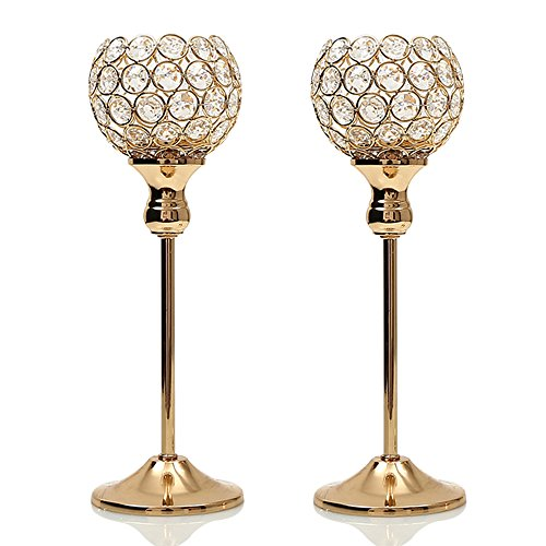 Wedding Candle Holder Centerpiece Decor - VINCIGANT Mothers Day Gold Crystal Votive Pair Candle Holders for Wedding Modern Centerpieces, Set of 2