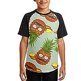 Pineapple Glasses Youth Boys Raglan Short Tshirts Baseball T-Shirt