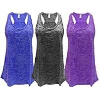 Epic MMA Gear Flowy Racerback Tank Top, Burnout Colors, Regular and Plus Sizes, Pack of 3