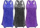 Flowy Burnout Racerback Tank (L, Royal/Black/Purple)