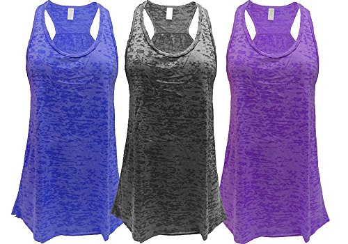Epic MMA Gear Flowy Racerback Tank Top, Burnout Colors, Regular and Plus Sizes, Pack of 3 (XL, Royal/Black/Purple)