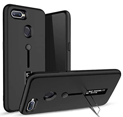 huge discount e6a7c f8f1c Spazy Case® Personality TPU + PC Dual Layer with Stand & Finger Holder Back  Case Cover for Oppo A7 / Oppo A5s Black