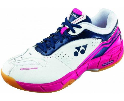 YONEX SHBSC4MX Ladies Badminton Shoes, White/Navy/Pink, US7