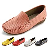 Jabasic Women's Slip-on Loafers Flat Casual Driving Shoes (10 B(M) US, Pink)