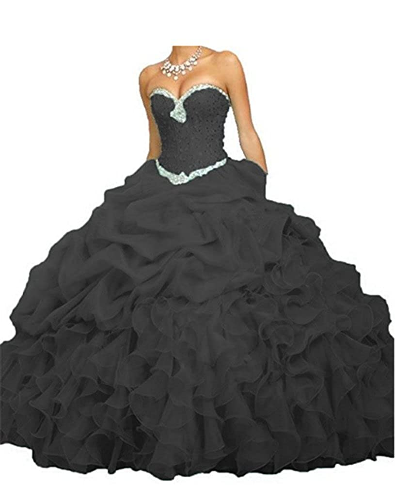 Black With Beads ANGELA Women's Ball Gown Organza Quinceanera Dresses Prom Gowns